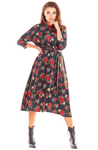 Wiązana sukienka midi w kwiaty
