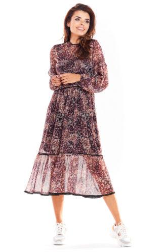 Sukienka midi z szyfonu we wzory