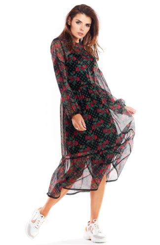 Sukienka midi z szyfonu w róże
