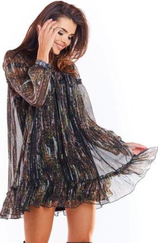 Sukienka mini z szyfonu w ciemne wzory