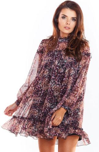 Sukienka mini z szyfonu w kolorowe wzory