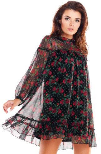 Sukienka mini z szyfonu w róże