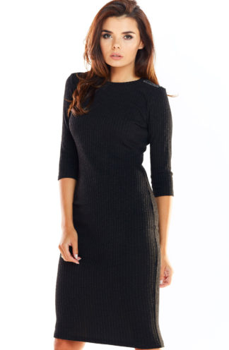 Ołówkowa sukienka z dzianiny czarna