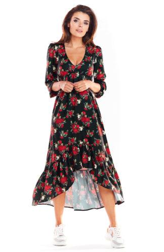 Asymetryczna sukienka maxi w róże