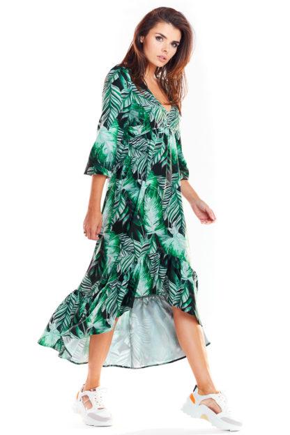 Asymetryczna sukienka maxi w liście