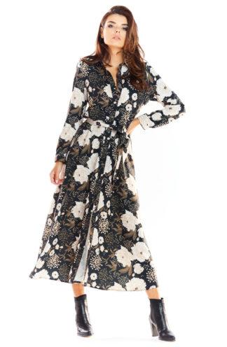 Wiązana sukienka maxi w kwiaty