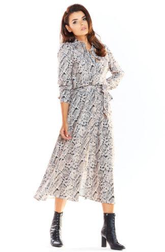 Wiązana sukienka maxi szara we wzory