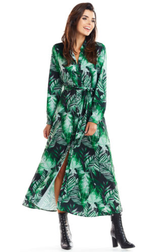 Wiązana sukienka maxi w liście