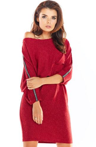 Dzianinowa sukienka oversize bordowa