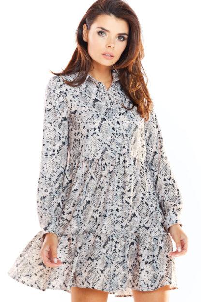Koszulowa sukienka z falbanką szara