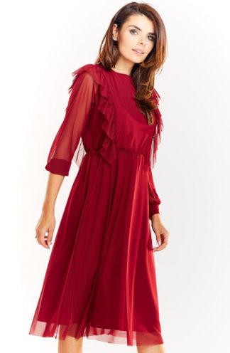 Elegancka sukienka z tiulu bordowa