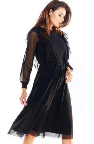 Elegancka sukienka z tiulu czarna