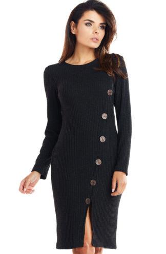 Sukienka dzianinowa z guzikami czarna