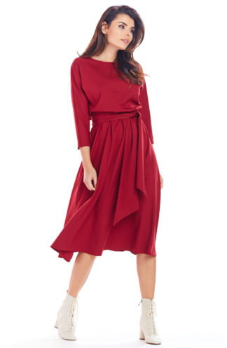 Sukienka rozkloszowana midi bordowa