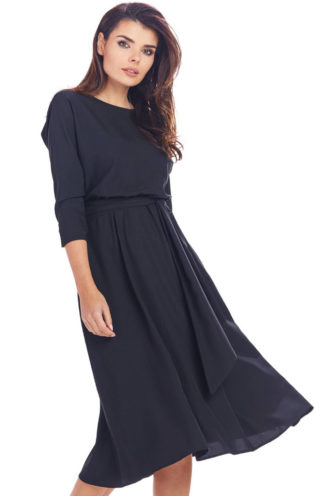 Sukienka rozkloszowana midi czarna