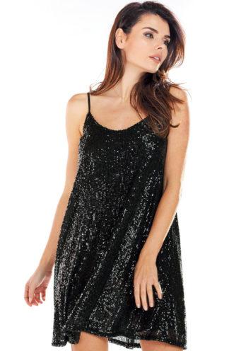 Sukienka z cekinów mini czarna