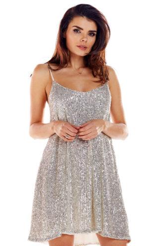 Sukienka z cekinów mini beżowa