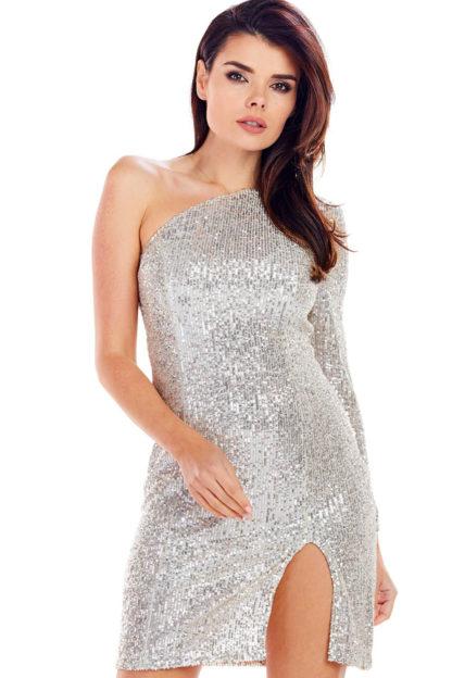 Asymetryczna sukienka z cekinów beżowa