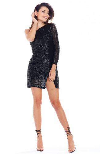Asymetryczna sukienka z cekinów czarna