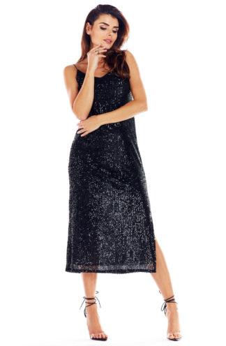 Sukienka z cekinami midi na ramiączkach