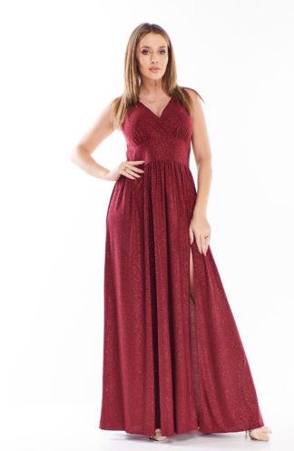 Brokatowa sukienka maxi z dekoltem