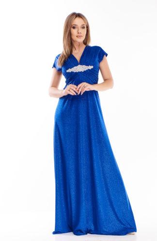 Brokatowa suknia maxi chabrowa