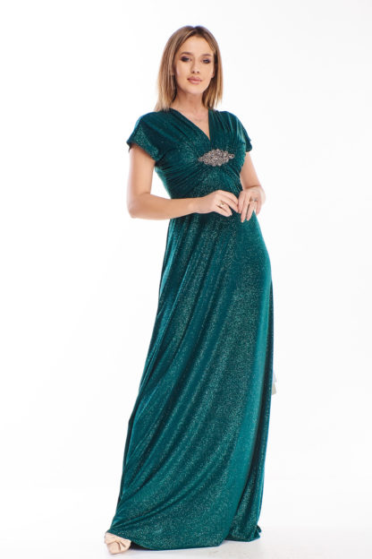Brokatowa suknia maxi zielona