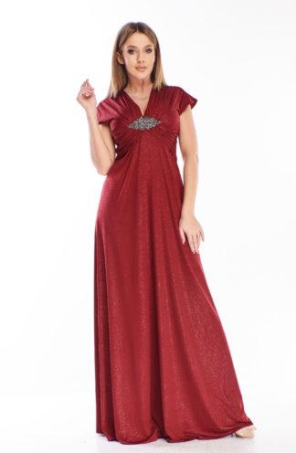 Brokatowa suknia maxi bordowa