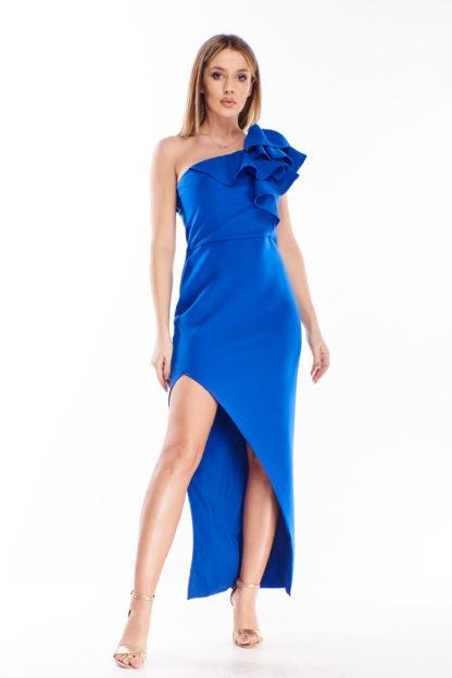 Sukienka na jedno ramię chabrowa