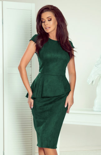 Sukienka midi z zamszu z baskinką zieleń