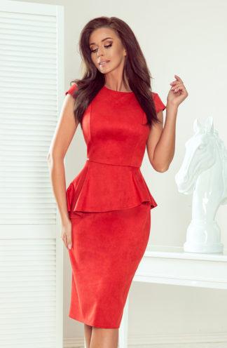 Sukienka midi z zamszu z baskinką czerwona