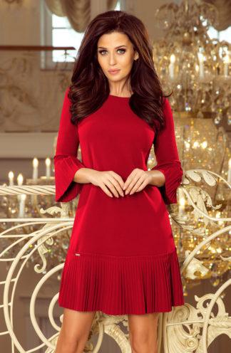 Elegancka sukienka z plisowaną falbaną bordowa