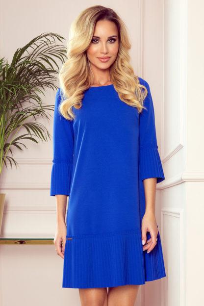 Elegancka sukienka z plisowaną falbaną chabrowa