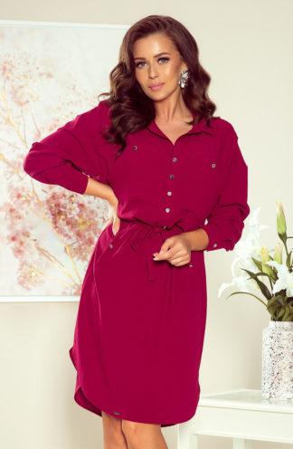 Koszulowa sukienka z wiązaniem bordowa