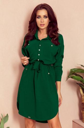 Koszulowa sukienka z wiązaniem zieleń