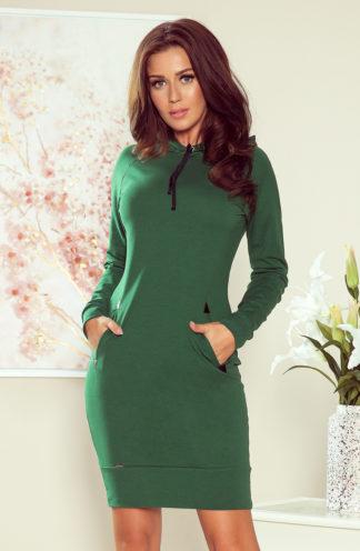 Dopasowana sukienka z kapturem zielona
