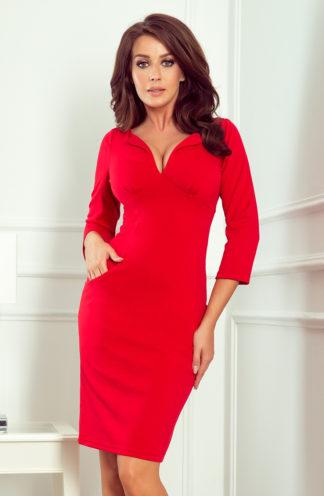 Ołówkowa sukienka z kieszeniami czerwona