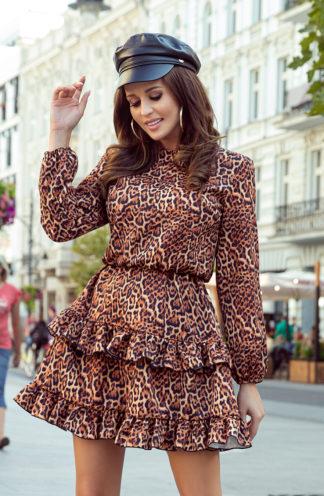 Sukienka z falbankami w panterkę