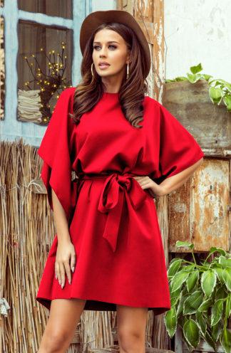 Sukienka nietoperz z rękawami czerwona
