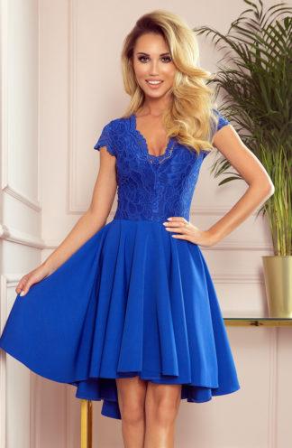 Sukienka z dłuższym tyłem i rękawkiem chabrowa