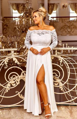 Sukienka maxi z hiszpańskim dekoltem i koronką