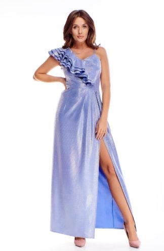 Elegancka sukienka maxi z falbaną