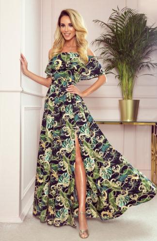 Długa suknia hiszpanka czarna w liście