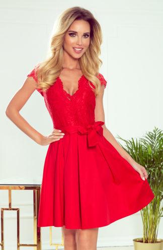 Sukienka z górą z koronki czerwona