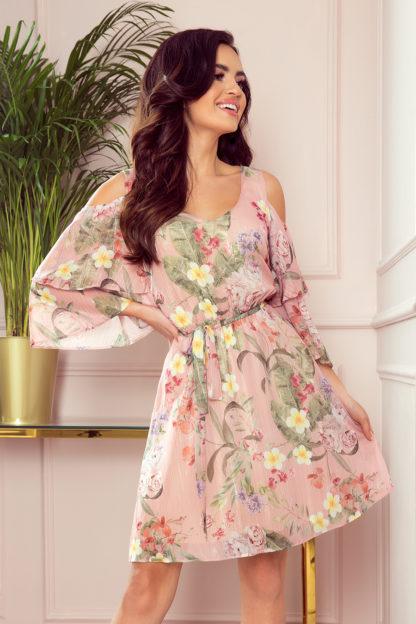 Zwiewna sukienka z szyfonu w kwiaty różowa