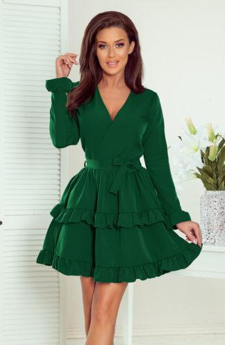 Sukienka z kopertowym dekoltem zielona