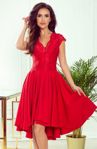 Sukienka z dłuższym tyłem i rękawkiem czerwona