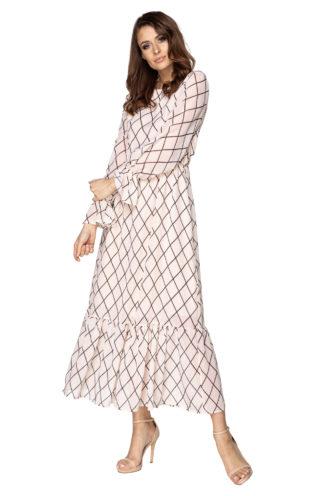 Długa sukienka w geometryczny wzór