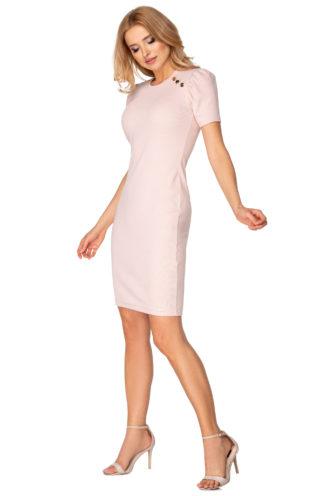Ołówkowa sukienka z krótkim rękawem różowa