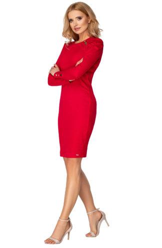 Ołówkowa sukienka z bufiastymi rękawami